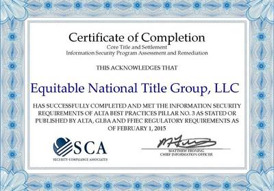 EQUITABLE NATIONAL TITLE BECOMES 1ST TITLE COMPANY IN CENTRAL FLORIDA CERTIFIED IN ALTA'S BEST PRACTICES